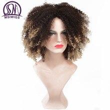 MSIWIGS kısa Ombre kıvırcık peruk siyah kadınlar için afrika amerikan doğal sentetik Afro kahküllü peruk yüksek sıcaklık Fiber