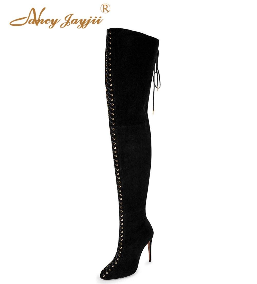 Nancyjayjii Жіночий чорний сніг взимку над колінним шнурком Взуття на високих підборах Жіночий Плюс Розмір 5-14 Zapatos Mujer Casual & Party