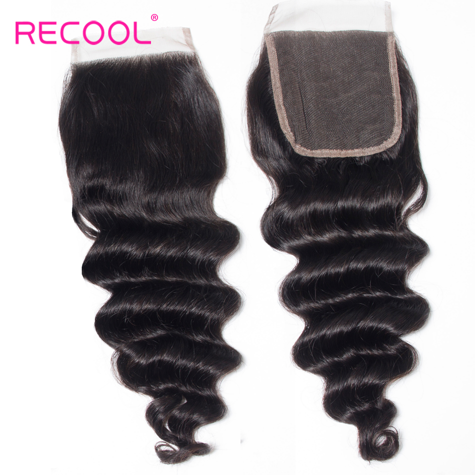 Recool Hair Loose Deep Wave Bundles With Closure Remy Brazilian Hair Bundles With Closure Human Hair Weave Bundle With Closure