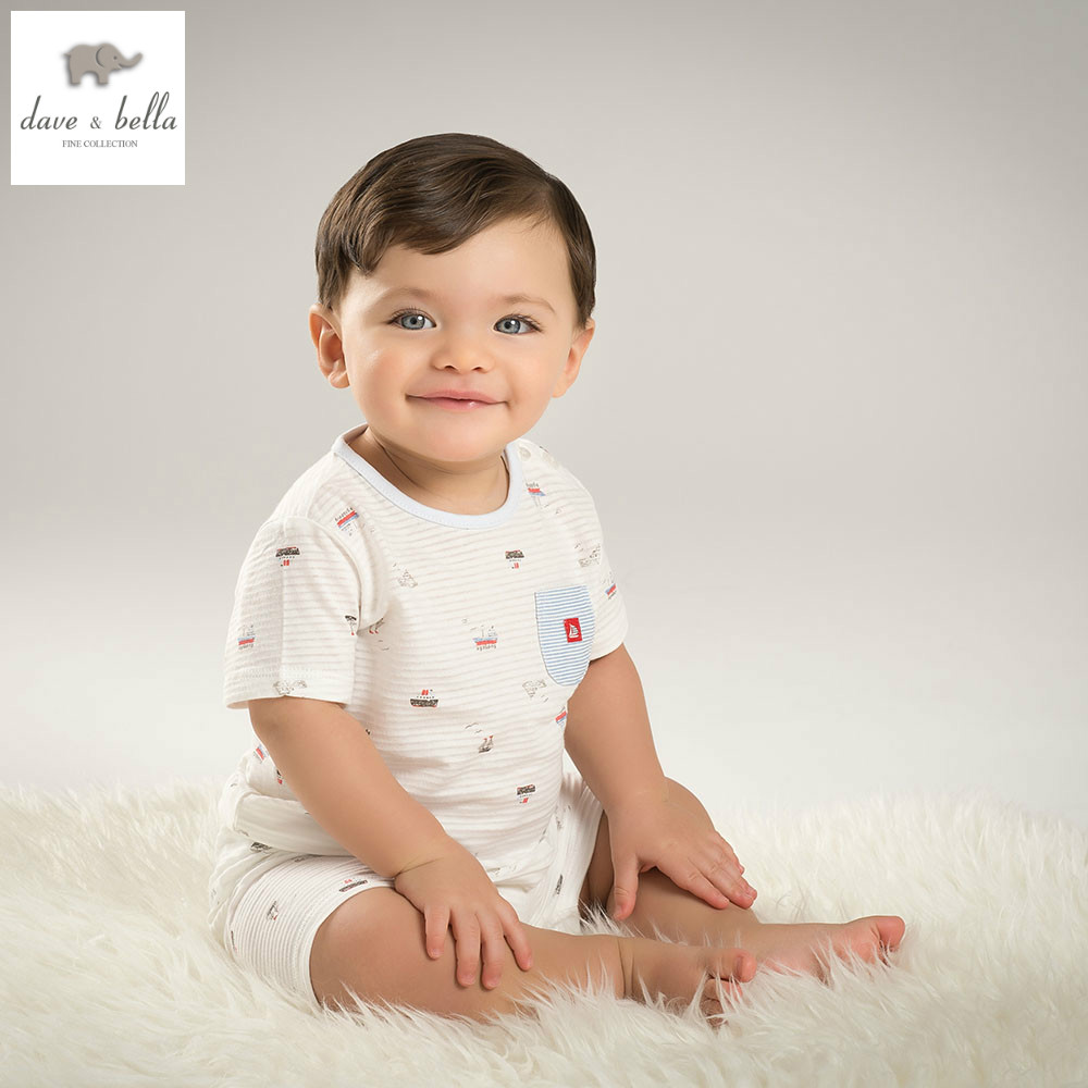 DB5858 dave bella summer baby boys clothing sets sailboat printed sets child sets infant clothes kids sets baby costumes