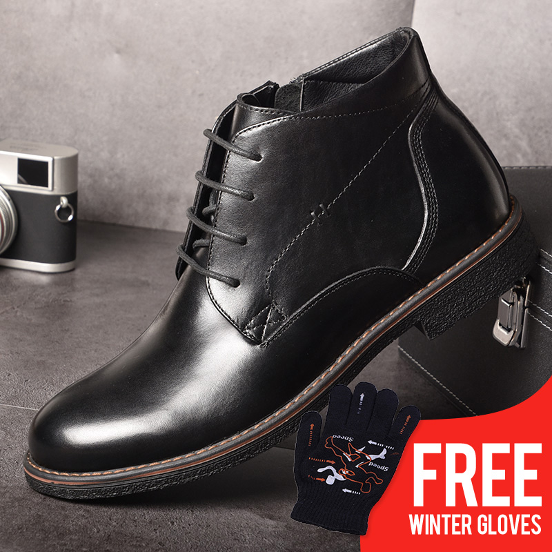 OSCO 2018 Business Casual Boots Genuine Leather Men Shoes Fashion Male Shoes Winter Ankle Boots Male Boots Winter Men Shoes men autumn winter genuine leather italian black luxury fashion casual plush ankle boots mens shoes male for wedding business 09
