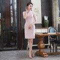New Fashion Autumn Dress Lace Cheongsam Traditional Chinese Dress Half Sleeve Pink Lace Dress Vestidos Party Women Dress XXL