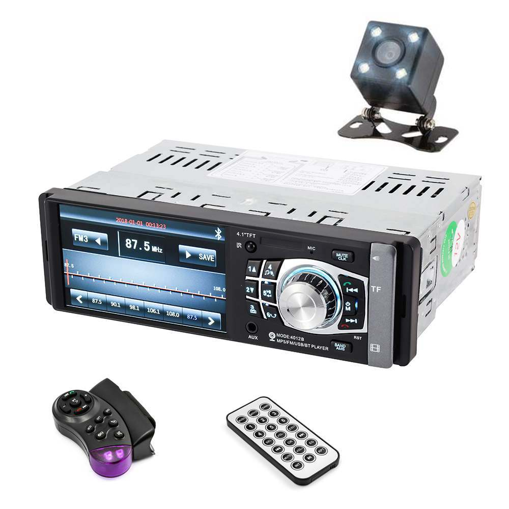 4012B 4.1 pouce 1 Din autoradio Auto Audio stéréo FM Bluetooth 2.0 Support caméra de recul USB volant télécommande