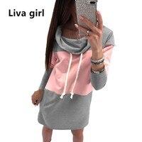 Liva Girl Autumn Winter Patchwork Dress Plus Size Women Tunic Casual Long Sleeve Boho Dress Runway