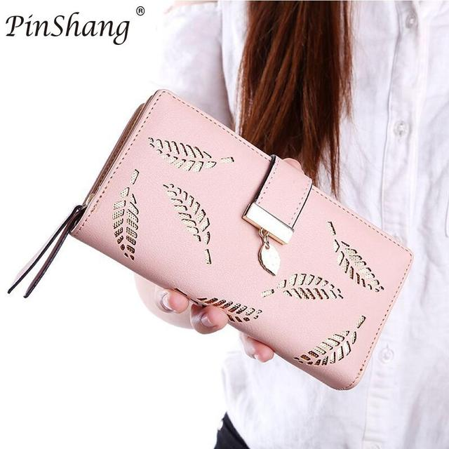 2e38f5d49aab US $4.89 30% OFF|Aliexpress.com : Buy 2018 Women Wallet Purse Female Long  Wallet Gold Hollow Leaves Pouch Handbag For Women Casual Coin Purse Card ...