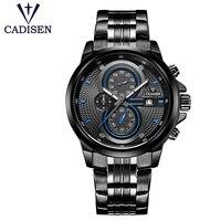 Mens Watches Top Brand Luxury Cadisen Military Sport Quartz Watch Men Waterproof Full Stainless Steel Leather