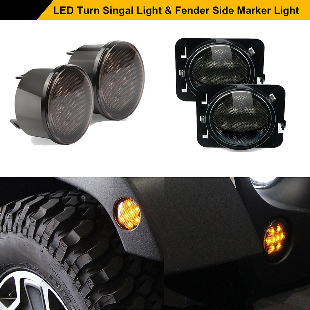 Smoke Lens Yellow LED Turn Signal + Fender Side Marker Parking Light Assembly For Jeep Wrangler JK Unlimited 2007-2017 ol 6499 xeфигура сова заботливая мама sealmark