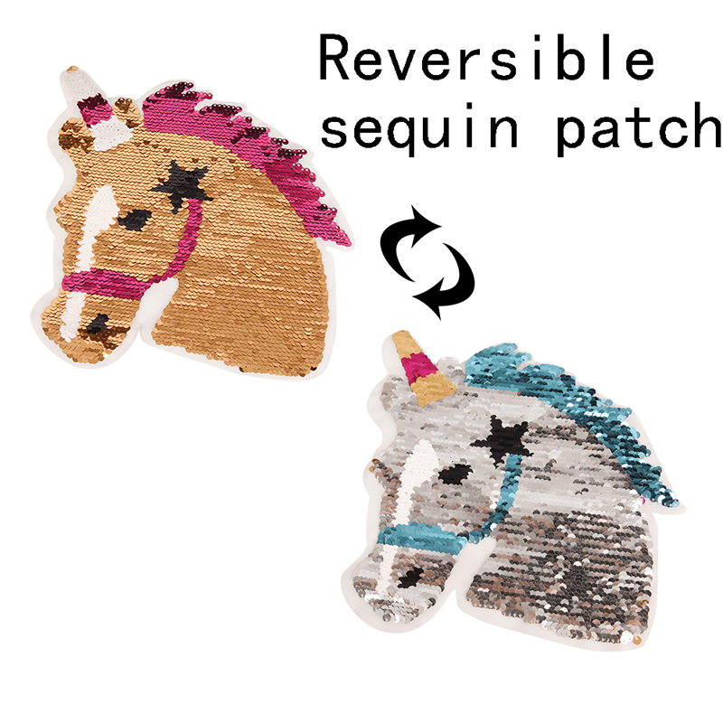 Horse Unicor Reversible Change Color Sequins Sew On Patches Bag Clothing Coat Jeans Craft For Clothes DIY Patch Applique