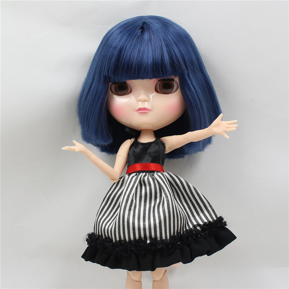 Neo Blythe Doll with Blue Hair, White Skin, Shiny Face & Jointed Azone Body 4