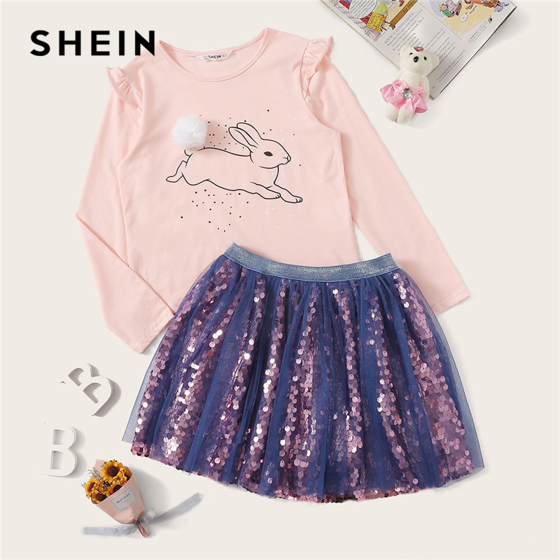 SHEIN Kiddie Pompom Frill Cartoon Top and Mesh Sequin Skirt Girls Clothing Two Piece Set 2019 Spring Long Sleeve Teenage Suit 2017 new spring lace princess sleeve shirt skirt dress pleated skirt suit casual cake