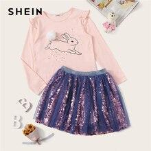 SHEIN Kiddie/топ с оборкой и сетчатой юбкой с пайетками, одежда для девочек, комплект из двух предметов, весна 2019, костюм для подростка с длинными рукавами