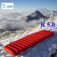 JR Engrenagem R 5.0 PrimaLoft ultraleve ao ar livre moistureproof esteira de ar inflável colchão de ar com flim TPU camping cama tubo de ar