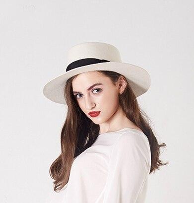 White Boater Hats for women Flat Top 100% wool felt fedora hat girls  fashion elegant flat 8cm Brim e995697fc