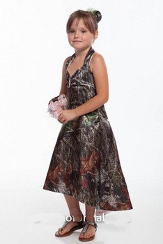 2020 high-low girls kids pageant gowns camo flower girl dresses