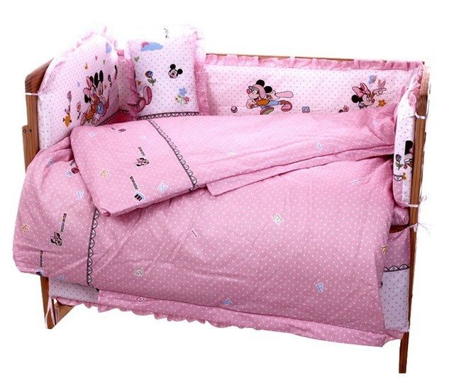 Promotion! 10PCS Mickey Mouse baby bedding set 100% cotton curtain crib bumper baby cot sets (bumpers+matress+pillow+duvet)