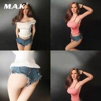 1/6 skala Weibliche Kleidung Weiß Strickwaren Jeans Set & Weste Eingewickelten Jeans Anzug Für 12 Zoll Körper Figur