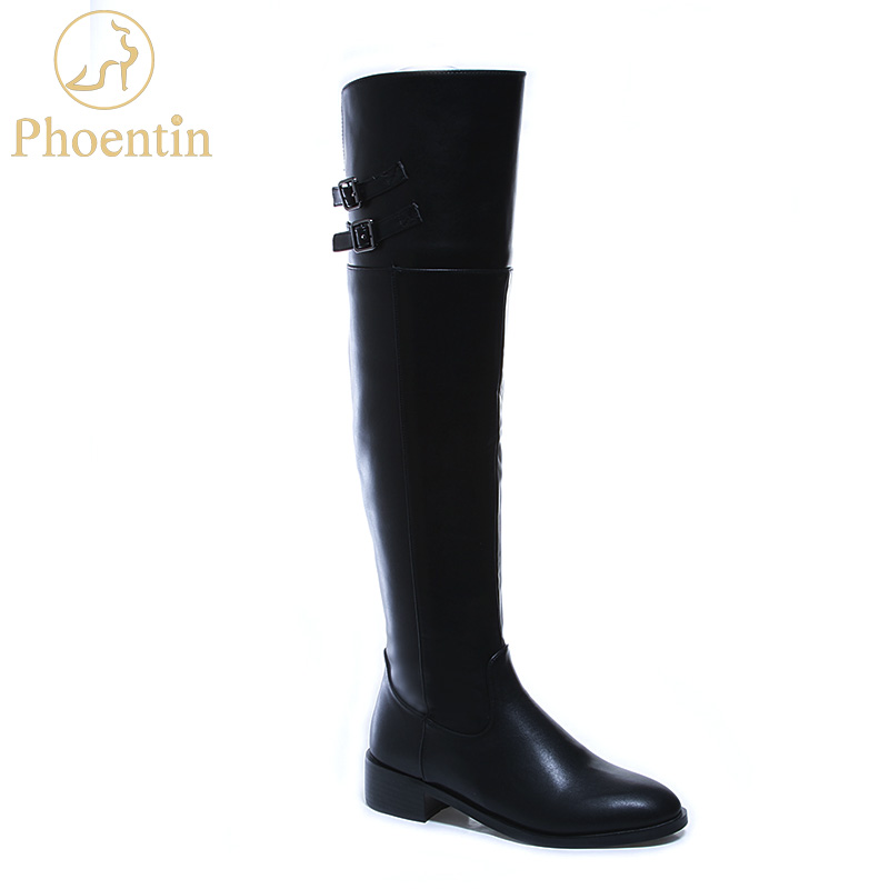Phoentin black PU boots over knee with zipper flat heels solid boots thigh high round toe
