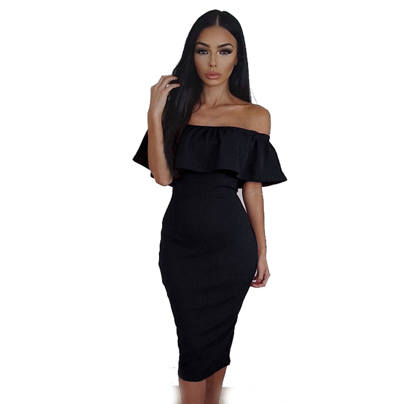 U-SWEAR Ruffle Off The Shoulder dresses 2018 Sexy Slim Bodycon Dresses butterfly sleeve dresses Plus size Club Wear Dresses