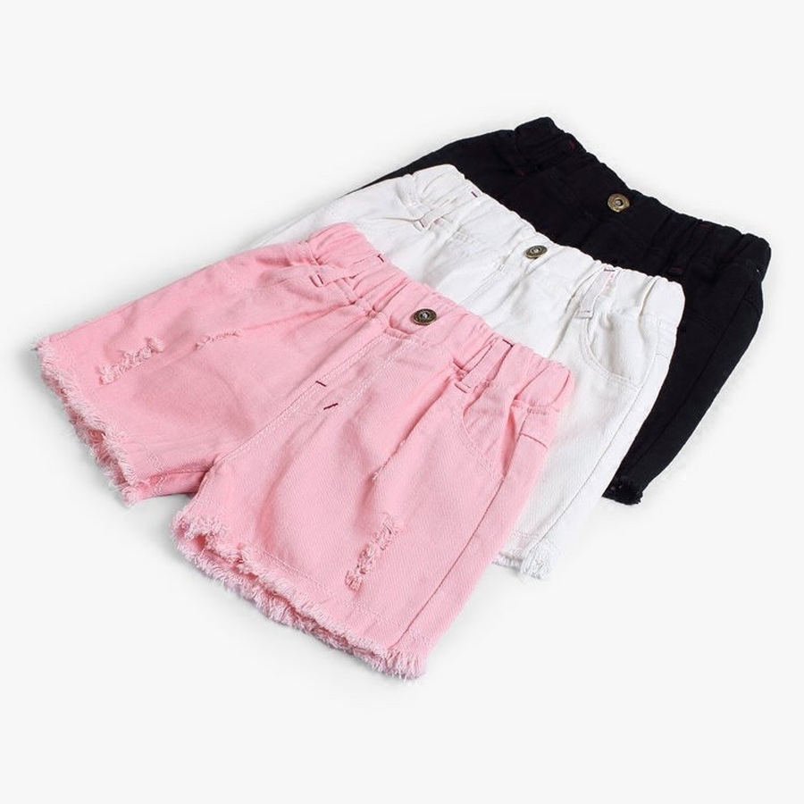 Famli Baby Girls Shorts summer Children Ripped Hole Denim Shorts for girl Kids Casual Solid Cotton Pockets Short Jean Pant 1