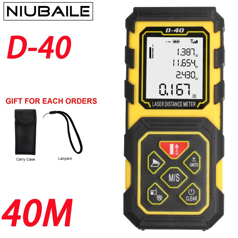 Niubaile мини лазерный дальномер 40 м лазерный дальномер Дальномеры ручной trena Клейкие ленты площадь/объем/программное средство меры лазерная р...