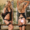 WAHO 2014 Women Sexy Underwear Panties Garter Link Chain Crural Ring Open Bra Sexy Lingerie Lace
