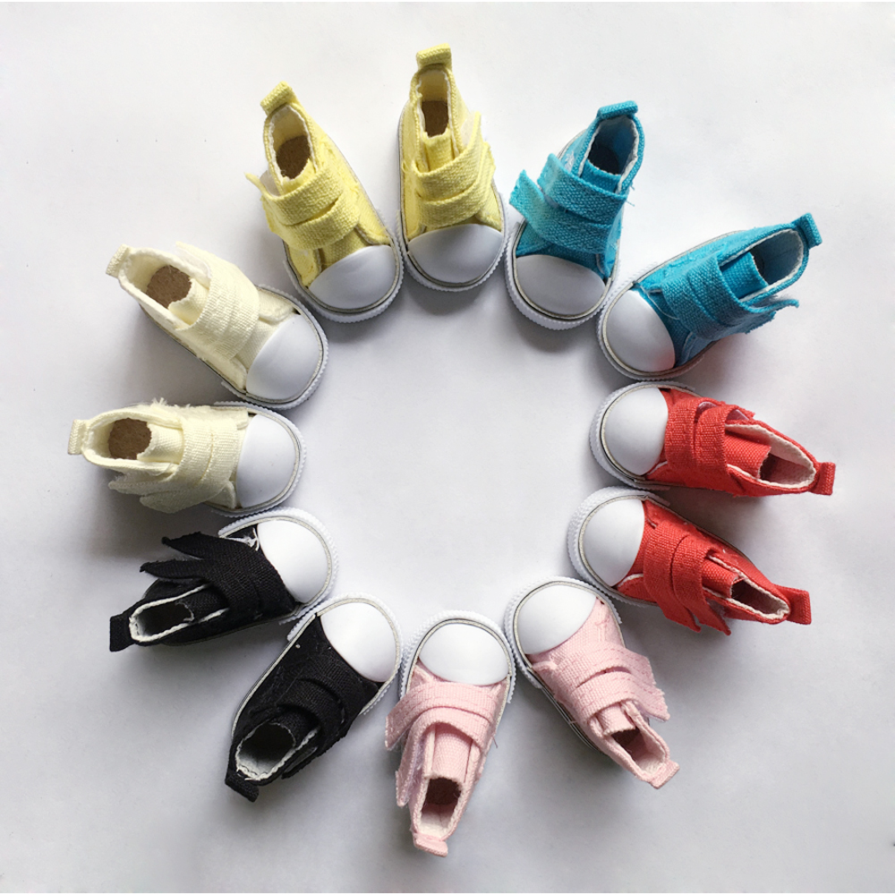 5pairs/lot 5cm Canvas Shoes For BJD Doll, Mini Textile Doll Boots 1/6 Denim Sneakers Shoes for Russian Doll Accessories