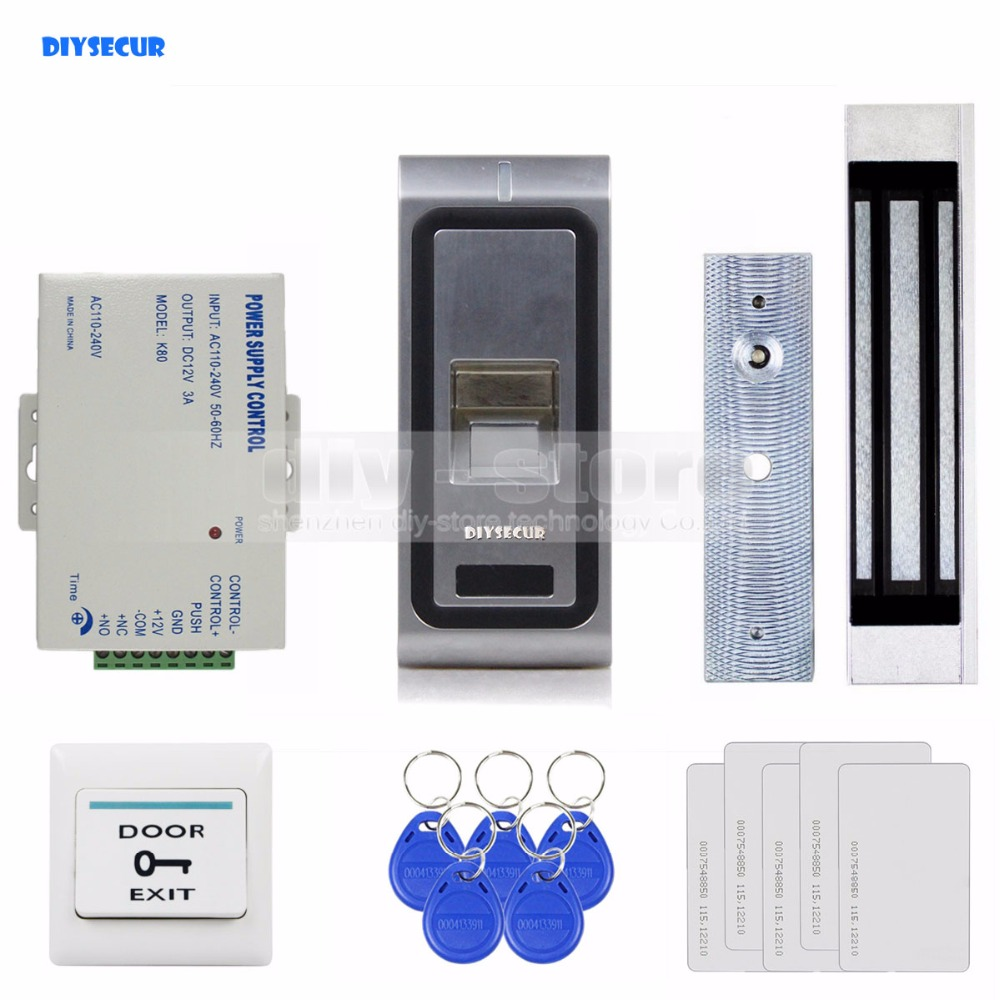 DIYSECUR Fingerprint 125KHz RFID ID Card Reader Door Access Control System Kit 180kg 350LB Magnetic Lock