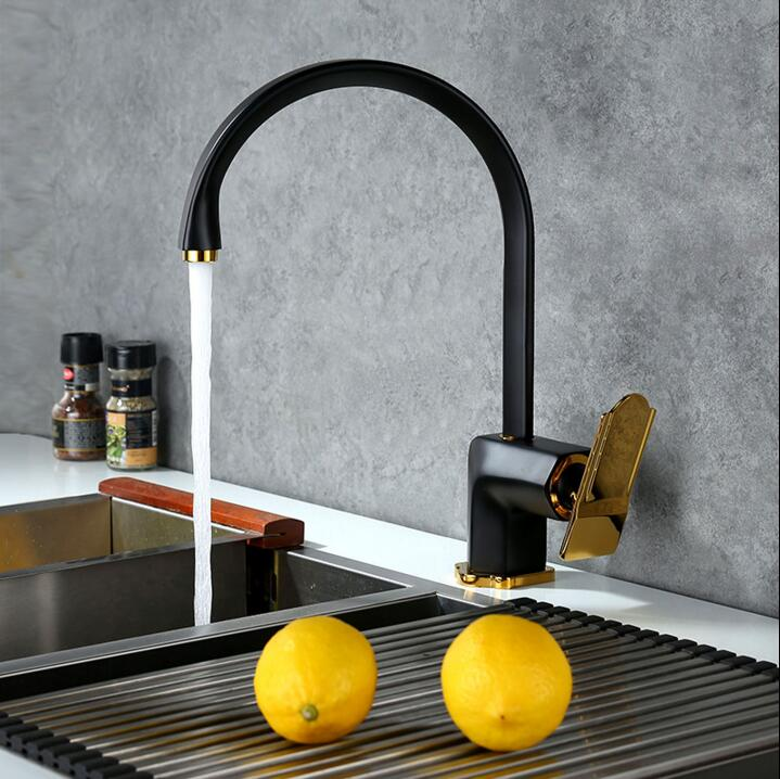 High Quality New Arrival kitchen faucet black brass hot and cold ...
