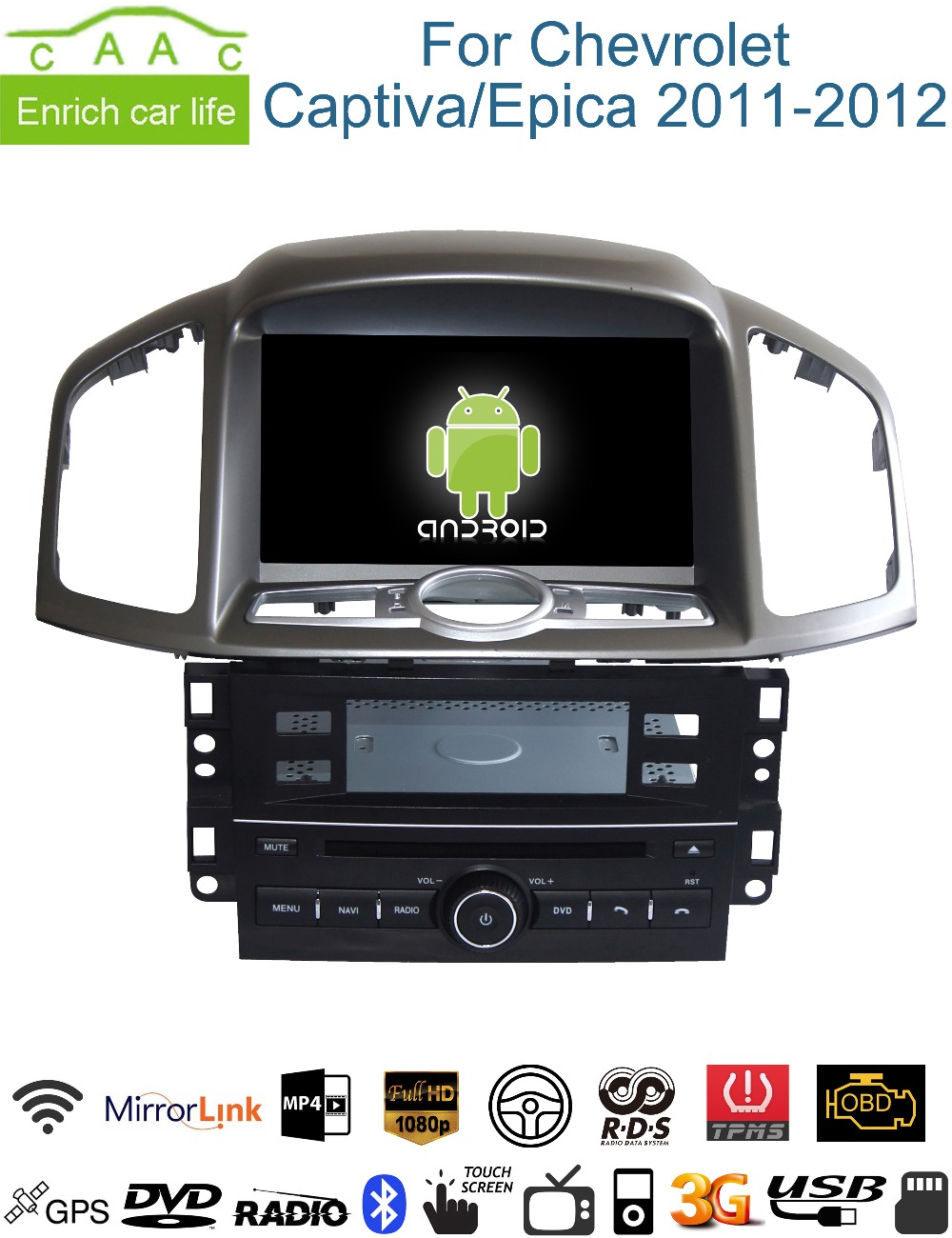 buy android gps navigation 8 car dvd player for chevrolet captiva epica 2011. Black Bedroom Furniture Sets. Home Design Ideas