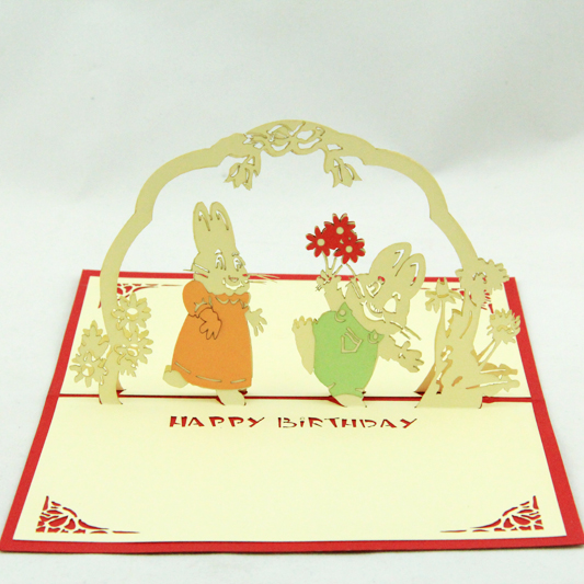rabbit congratulate  birthday card/3D  kirigami card/ handmade greeting cards gift for men  Free shipping 30pcs in one postcard take a walk on the go dubai arab emirates christmas postcards greeting birthday message cards 10 2x14 2cm