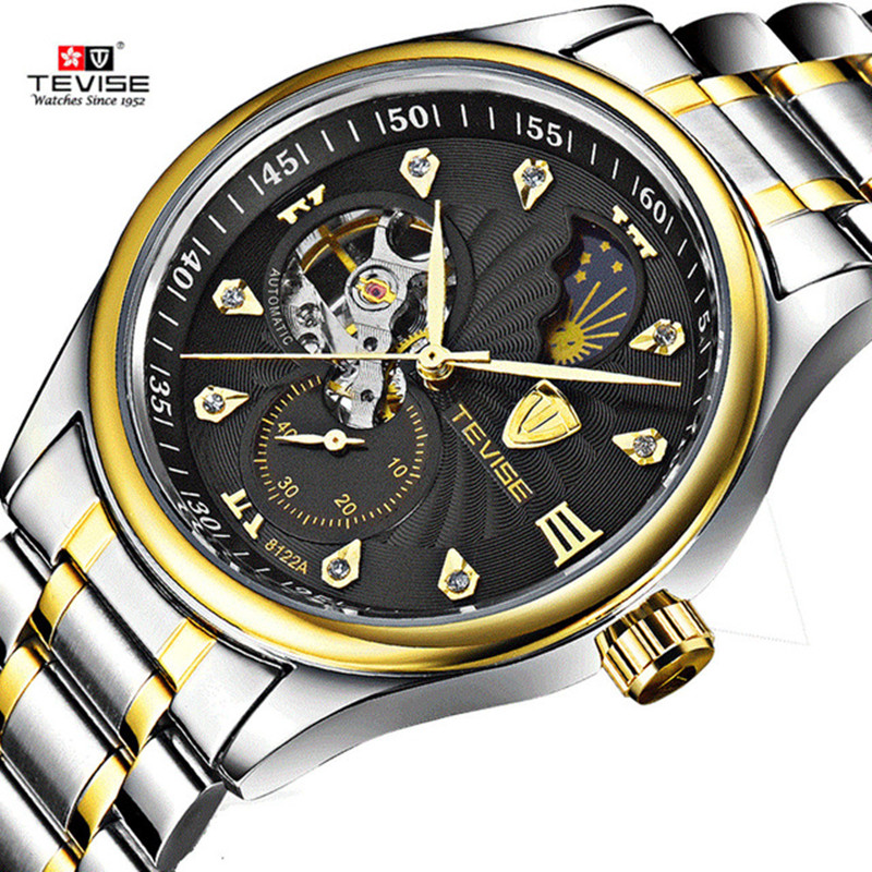 Luxury Brand Men Watch TEVISE Tourbillon Automatic Mechanical Watches Waterproof Moon Phase Steel Mens Wrist Watches Male Clock tevise men black stainless steel automatic mechanical watch luminous analog mens skeleton watches top brand luxury 9008g