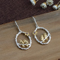 FNJ Double Bird Earrings 925 Silver Original S925 Sterling Silver Drop Earring for Women Jewelry Purple Cubic Zircon Flower