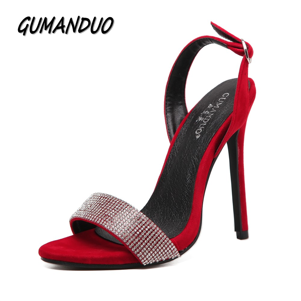 GUMANDUO New women pumps high heels sandals shoes woman sexy slingback rhinestone party wedding stilettos thin heels shoes