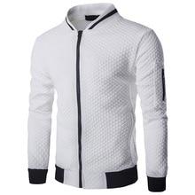 Laamei Для мужчин; Veste Homme куртка-бомбер Fit Argyle куртка на молнии Повседневная куртка 2019 осенью новый тренд белые модные Для мужчин Куртки Одежда