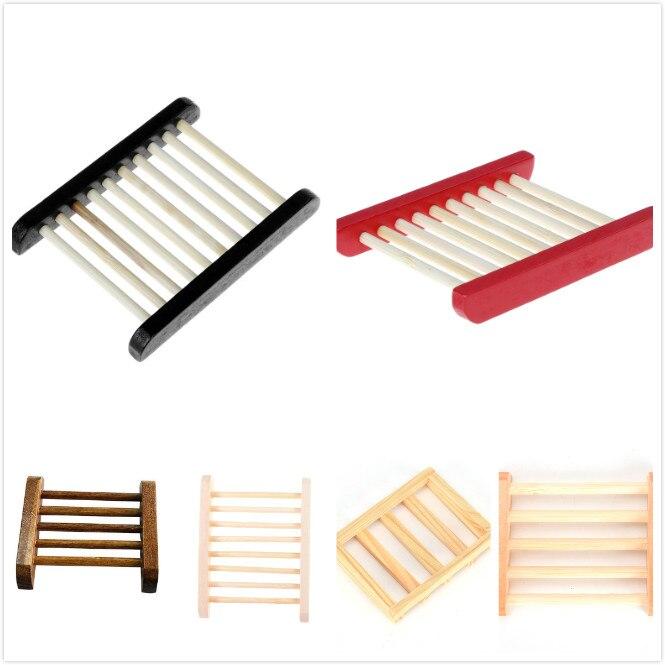 6 Styles Soap Dish Tray Storage Natural Wood Soap Tray Holder Flexible Waterfall Soap Holder Tray Drain Holder Bathroom Shower