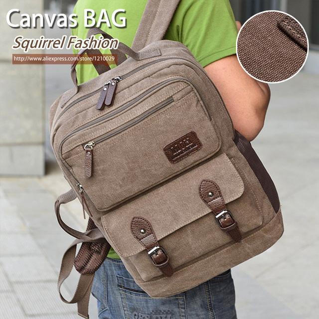 Esquilo moda sólida lona ocasional do vintage grande saco de viagem capacidade qualidade pacote de computador mochilas diárias dos homens do moderno