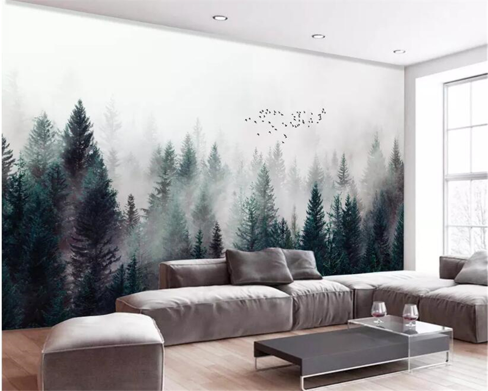 Beibehang Custom Large Natural 3d Wallpaper Fog Forest Fog Bird Modern 3d Living Room TV Background Wall Wallpaper For Walls 3 D