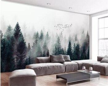 Beibehang Custom large natural 3d wallpaper fog forest fog bird modern 3d living room TV