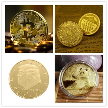 Donald Trump President Commemorative Coin Gold Plated Bitcoin Collectible Gift Bit coins Mayan Aztec Prophecy Calendar Panda