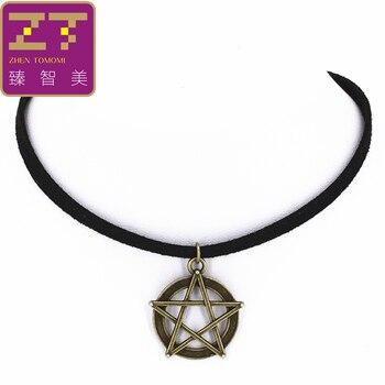 Hot Fashion Torques Geometric Circle Pentagram Pendants Necklaces Black Velvet Leather Chokers Necklaces