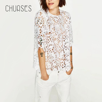 CHURSES Elegant Floral Lace Blouse Shirt Women White Short Sleeve Blouse Spring And Summer Hollow Out