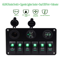 Car Auto Boat 12V Switch Panel 6Gang USB Car Charger 3.1A waterproof