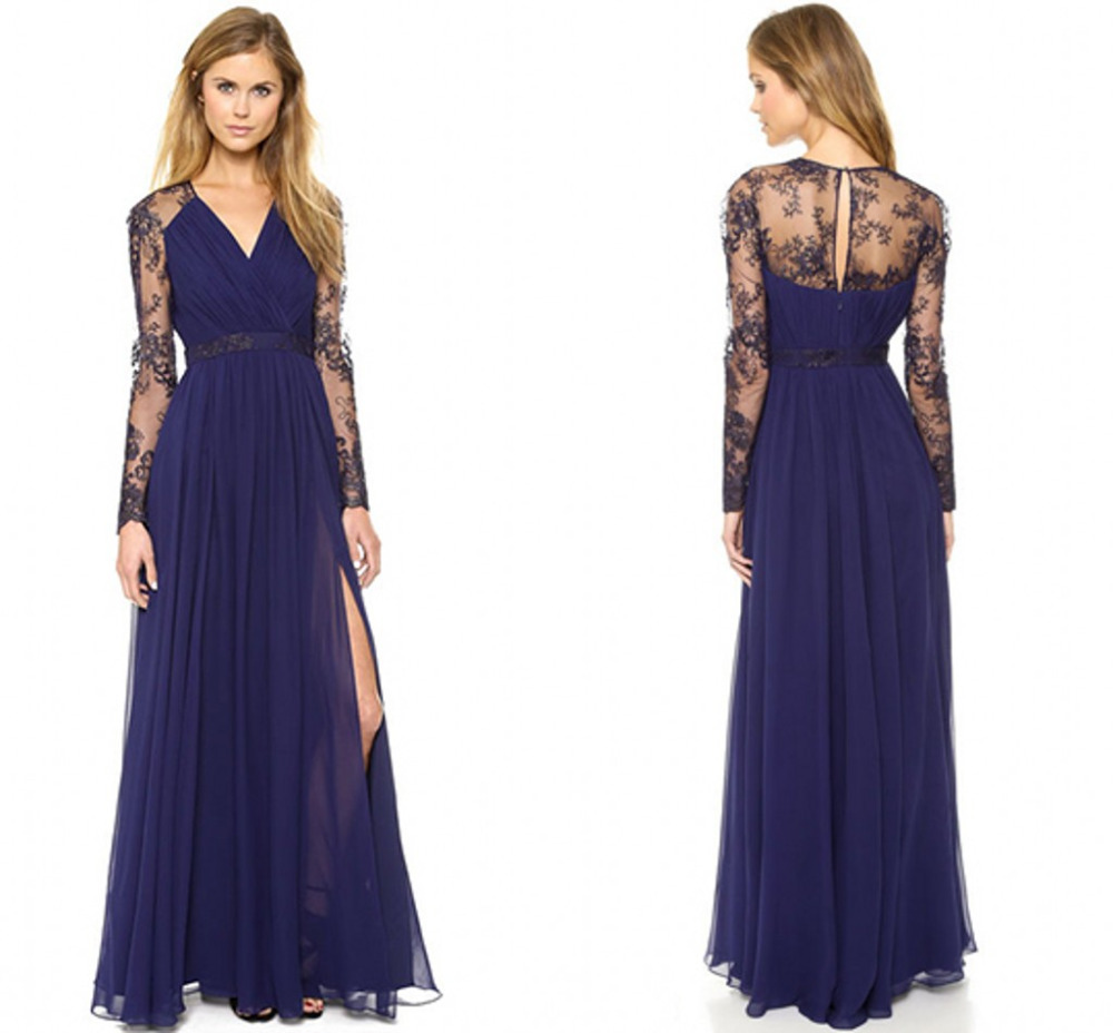 Top Chic Lace Sheer Long Sleeve Purple Prom Dresses 2015