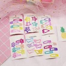 6 шт., милые заколки для девочек, металлические заколки для волос карамельного цвета в виде сердечек и бабочек, Детские аксессуары, детские заколки для волос