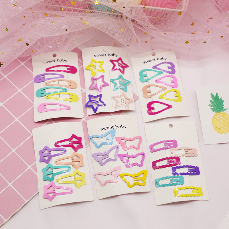 6 PCS Girls Cute Hairpins Heart Butterfly Type Metal Candy Color Hair Clip Kids Headwear Children Accessories Baby BB Clips