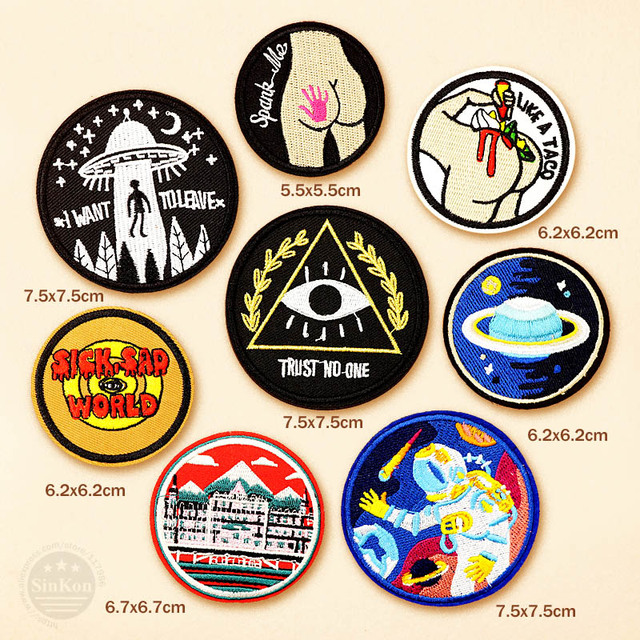 Astronaut UFO SICK SAD WORLD Iron On Patch Sewing On Embroidered Applique Sewing Clothes Stickers Garment Apparel Accessories