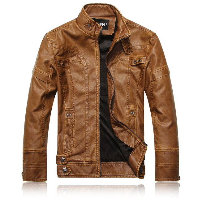 Brand Motorcycle PU Leather Jackets for Men Winter Faux Fur Coat Woolen Brown Velvet Warm Slim Fit Male Leather Jacket and Coats