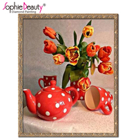 Products For Crafts Diy Diamond Embroidery Cup Flower Painting Rhinestones Diamond Mosaic Kit 3D Picture Of