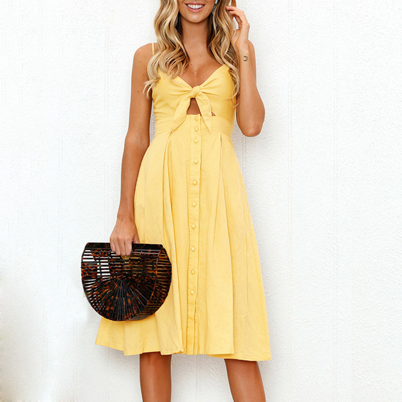 Summer NEW prairie chic Women solid color hollow out dress Bowknot Lace Up Ladies Holiday Beach Cocktail Party knee length Dress