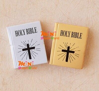 Мини dollhou мини мебель модель 6 очков ребенка с английская версия Библии золото/серебр ...